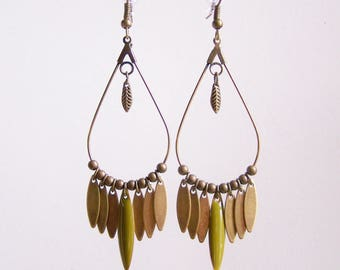 Dangle drop earrings and khaki green navette