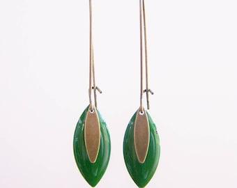 Sequin green enamel earrings