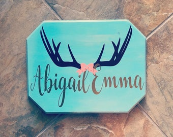 Antler-themed Nursery Wooden Sign - stained wooden sign - nursery sign - antler sign - vinyl sign - personalized sign - customized sign