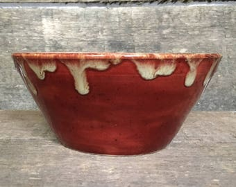 Pottery bowl/ Red Pottery Bowl/ Red and WHite bowl/ Handmade red bowl/ Cereal Bowl/ Ice Cream Bowl/ Gift for her/ Gift For Him/ Salsa bowl