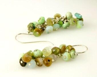 Peruvian Blue Opal Cluster Earrings, Peruvian Opal Earrings, Gemstone Earrings, Gemstone Cluster Earrings,