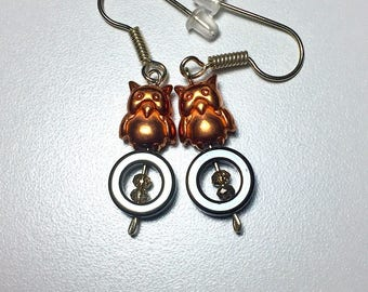 Copper Owl & Hematite Gemstone Earrings
