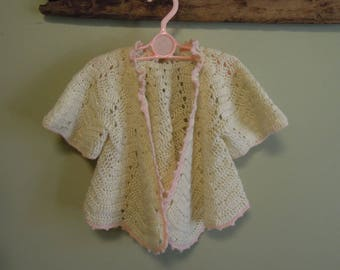 Vintage Baby Clothes / 1950's Handmade Cream and Pink Baby Girl / Vintage Baby Sweater Shawl