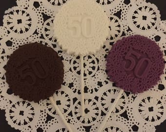 """Number """"50"""" Chocolate Lollipops(12 qty) - 50th Birthday Party - 50th Anniversary Party - 50 and Fab Party - Number 50 Party Favor"""
