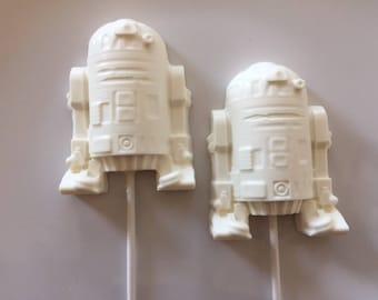 STAR WARS R2D2 Chocolate Lollipop (12qty)Star Wars/Birthday Party/R2D2 Lollipop/Party Favor/Boys Birthday/Star Wars Favor/Star Wars Lollipop