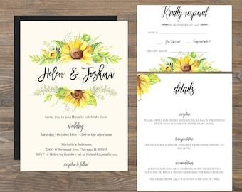 Sunflowers Wedding Invitation, Rustic Sunflower Invitation, Country Wedding Invitation, Rustic Wedding Invitation, Wood Wedding Invitation