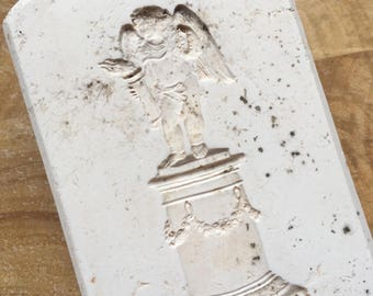 Wedgwood original vintage Jasperware plaster mould of a cherub on a plinth. Collectible souvenir or paperweight, pottery memorabilia.