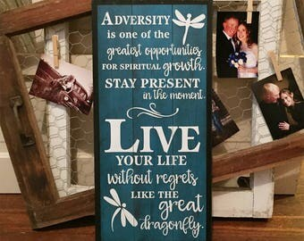 Custom quote wood sign • Dragonfly sign • Personalized wall art • Shabby Chic wooden plaque • Live your life with no regrets • Rustic