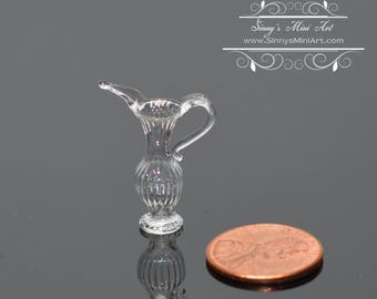 1:12 Dollhouse Miniature Clear Elongated Pitcher/ Miniature Container BD HB332