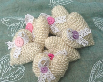 Handmade Crochet hearts with lace and button detail perfect for wedding or party favours/gifts