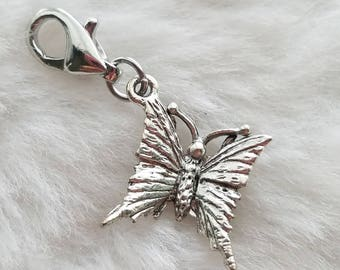 Pewter Butterfly Charm - Clip-On - Ready to Wear