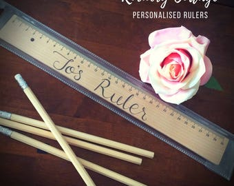 Personalised ruler, custom wood burned ruler, back to school, teacher appreciation gift, school supplies, art supplies, alphabet ruler, abc