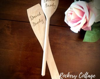 Small kitchen baking set, wooden spoon and spatula set, personalised baking set, personalised cooking set, custom kitchen gift, wood kitchen