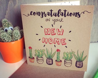 New Home Card with Cactus Design, unique housewarming greetings with cacti pattern, ideal for brother, sister, friend, cousin
