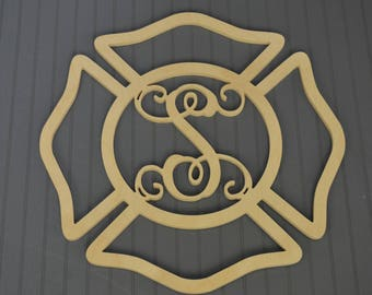 Maltese Cross Fire Fighter Monogram, Firefighter, Fireman Monogram, Wood Cutout Shape, Unfinished, Wedding Gift, Christmas Gift, Wall Decor