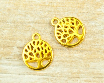 2x Tree of life Pendant 10mm gold plated # 4465