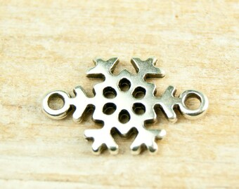 snowflake charm 2 eyes silver plated 14mm #4463