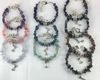 Handmade Genuine Semiprecious Stone Silver dog bone charm Bracelet bone jewelry dog lover jewelry pit bull bulldog bracelet bully jewelry