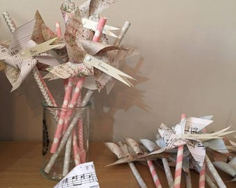 Windmills brand squares shabby chic, romantic patterns, musical, pinks and grays (price)