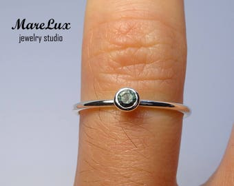 Classic 3 mm Tourmaline Stackable Silver Ring, Dark Green Synthetic Tourmaline Stackable Ring Sterling Birthstone Tourmaline Engagement Ring