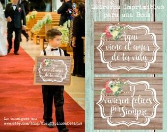 Printable Spanish  Vintage Wedding Sign ***INSTANT DOWNLOAD***