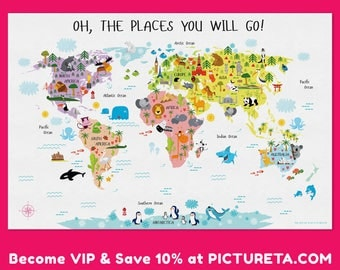 Unique Baby Gift Childrens World Map Poster Nursery Decor