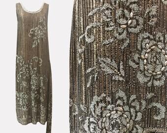 1920s Heavy Beaded Gold Lamé Flapper Dress