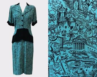 1940s Texas Novelty Print Rayon Dress