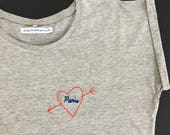 "Woman tee-shirt ""Paris I love you"" / / hand embroidery / / handmade in france gift / / Christmas woman gift / / I love Paris / / embroidery"