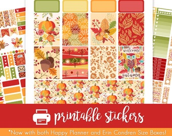 Printable Planner Stickers EarlyAutumn Weekly Kit! Perfect for August/September/October/November! For use w/ ECLP and Happy Planner!