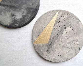 Marbled and Gold Concrete Coaster