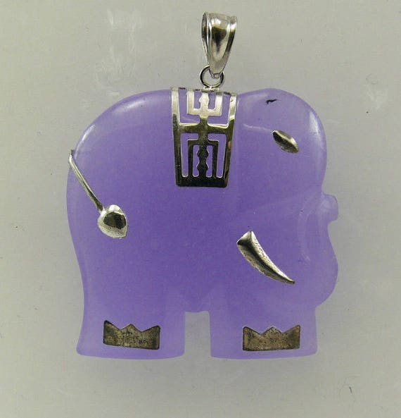 Lavender Jade Elephant Pendant with Sterling Silver