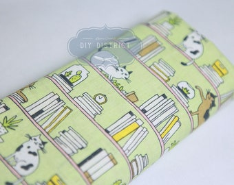 Modern cat pattern Japanese fabric green background