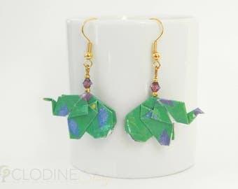 Green origami elephant earrings, Origami elephant, Elephant jewelry, Paper jewelry, Origami jewelry, Kawaii, Mignon, Petit, Cute, Green