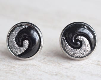 Silver Black Swirl Lucite Bridesmaid Stud Earrings
