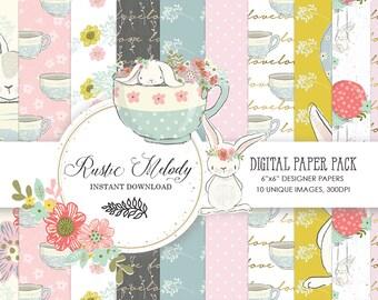 bunny paper, craft supplies,bunny scrapbook,planner supplies,paper pack,paper, kids paper,seamless patterns
