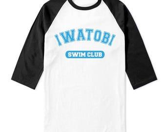 Iwatobi Swim Club on 3/4 Sleeve Baseball Raglan Tee T-shirt