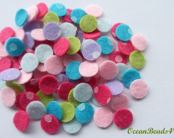 100 Mix Printed Felt Circles (1 cm/ 0.4 in)