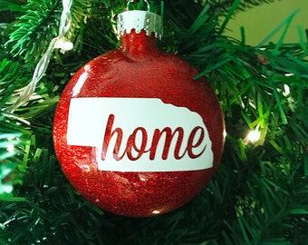 "Nebraska Huskers ""Home"" Christmas Ornament - Free Shipping"