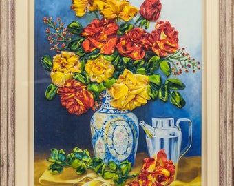 Ribbon embroidery 3D wall art home decore rose flowers in a vase.