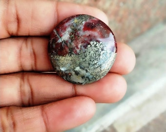 Warm sell 55.5ct Pyrite Jasper Natural Gemstone Super Quality AAA+++  Cabochon , Smooth, Round Shape, 30x6mm Size, AM211