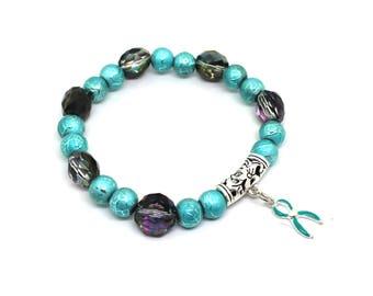 POTS Awareness, POTS Bracelet, Sexual Abuse Survior, Teal Ribbon Jewelry, FPIES Awareness, Fragile X Awareness, Ptds Awareness, Ptsd Jewelry