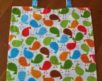 "Elasticated towel canteen-decor - fabric ""Multicolored birds"""