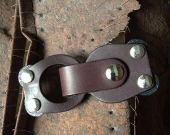 JUL Mod Loop Leather Closure Color Truffle Mod Loop Screw-in Closure, JUL Leather Screw in Closure, JUL Knitwear Snap Closure Brown Leather