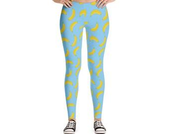 Banana Yoga Leggings - Workout Leggings - Colorful Leggings - Fun Tights - Festival Leggings - Running Leggings - Yoga Pants