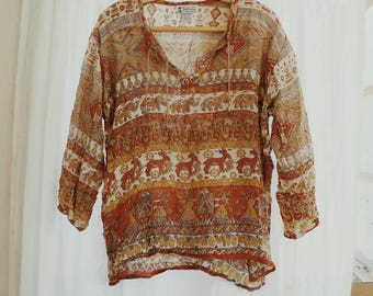 Vintage Indian cotton blouse // boho 70's hippie top