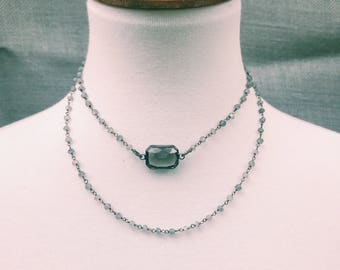 Crystal chained pendant necklace