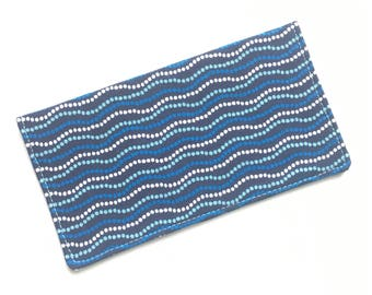 Checkbook cover, checkbook holder, wallet, receipt holder, blue waves