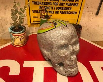 Pinstriped Glitter Skull