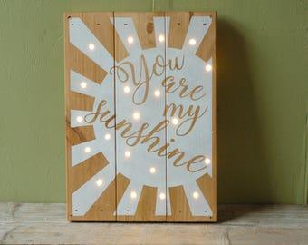 You Are My Sunshine - Nursery Artwork - Reclaimed Wood Wall Art - Woodland Nursery Decor - Rustic Sign - Rustic Decor - Sunshine Artwork